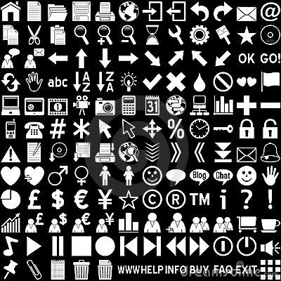 Free Web Icons - White On Black Royalty Free Stock Photography - 4877217