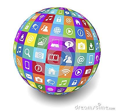 Web And Internet Social Media Globe