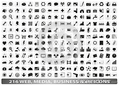 216 web, media, social, business icons / buttons