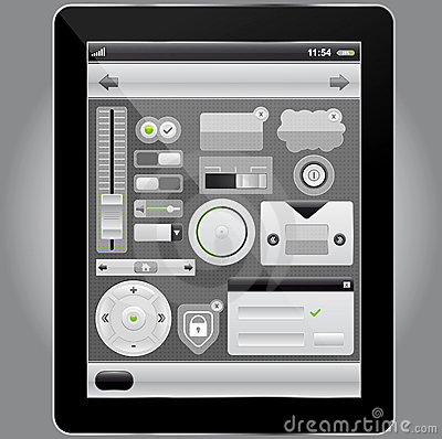 Web and mobile interface elements and tablet pc