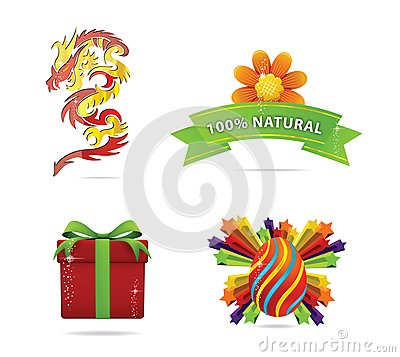 Web and nature elegance symbols set