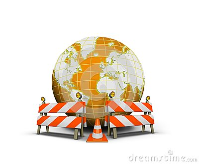 Web site bajo construcción con el globo y la barrera