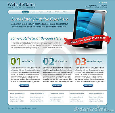 Web site template with touchscreen tablet