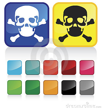 Web skull buttons-suggested colors, glossy