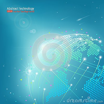 Free Web Technology And Internet. Abstract Planet. Futuristic Background With Dots And Lines. Vector Illustration. Glow Effect. Stock Photography - 129516492