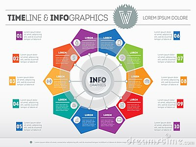Web Template for circle diagram or presentation. Business infographics concept with 10 options. Vector infographic of technology Vector Illustration