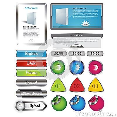 Web template elements metallic Vector EPS10