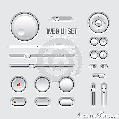 Web UI Elements Design Light Gray