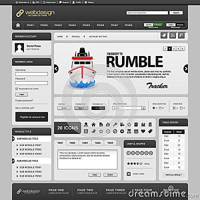 Web Website Element Design Template Grey Dark