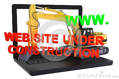 Website building on laptop under construction