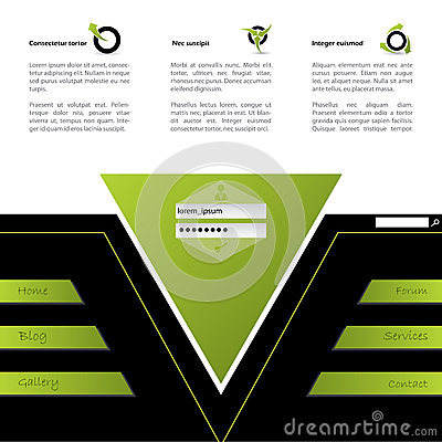 Website design in green and black