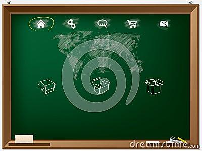 Website design template drawn on chalkboard