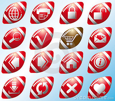 Website and internet icons on the footballs