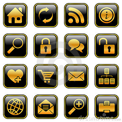 Website and internet icons, golden series