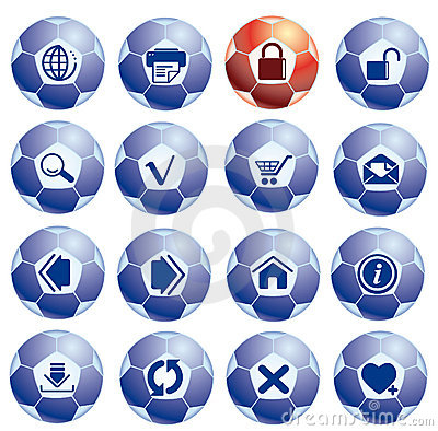 Website and internet icons on the soccer balls