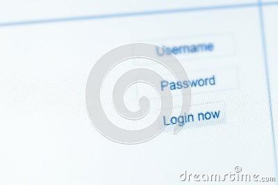 Website Login screen, Login now
