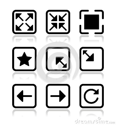 Website screen icons set - full screen, minimize,