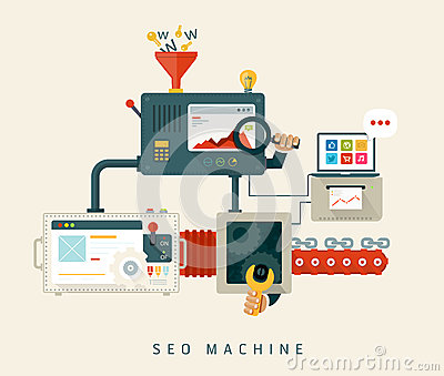 Website SEO machine, process of optimization. Flat