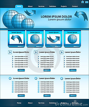 Website template design blue