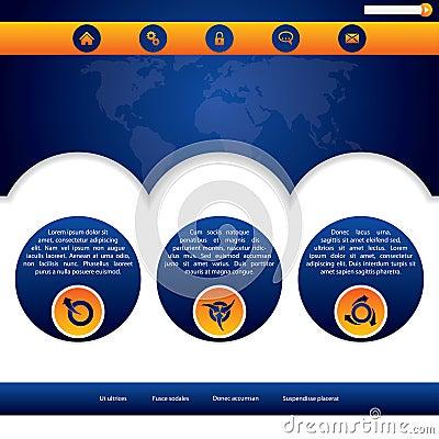 Website template design in blue and orange
