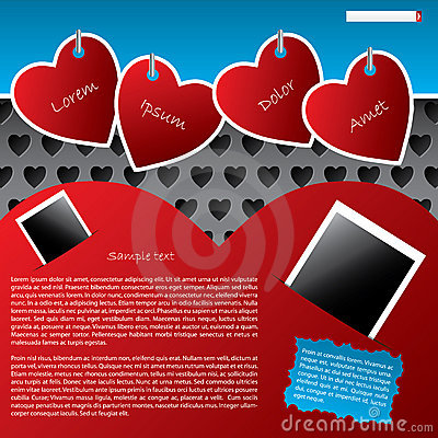 Website template design with hanging heart labels