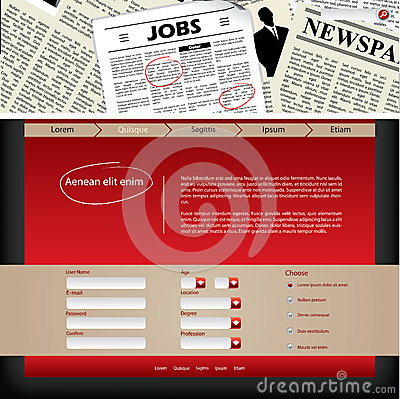 Website template design with newspaper header