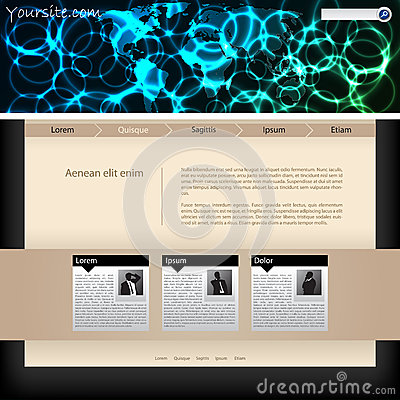 Website template design with plasma header