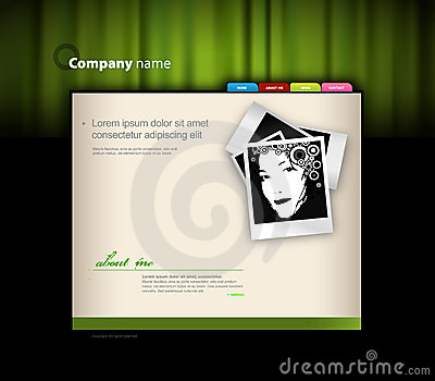 Website template with photo.