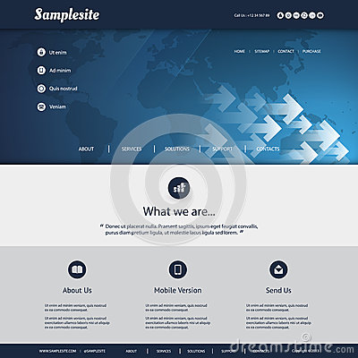 Free Website Template With World Map And Arrows Pattern Design For Your Business Stock Image - 45305321