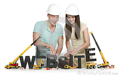 Website under construction: Joyful man and woman building websit