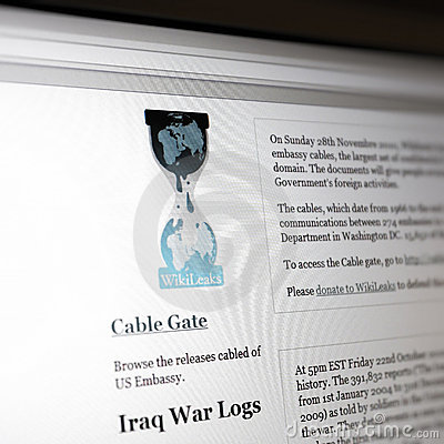 Website of Wikileaks Editorial Photo