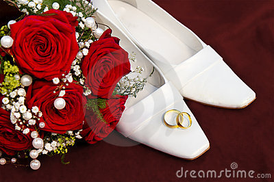 Weddin concept with rings flowers and shoes