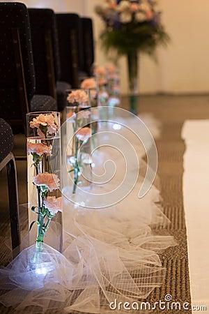 Free Wedding Aisle Flower Decoration Royalty Free Stock Photo - 36677465