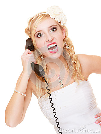 Free Wedding. Angry Woman Fury Bride Talking On Phone Stock Photography - 40954082