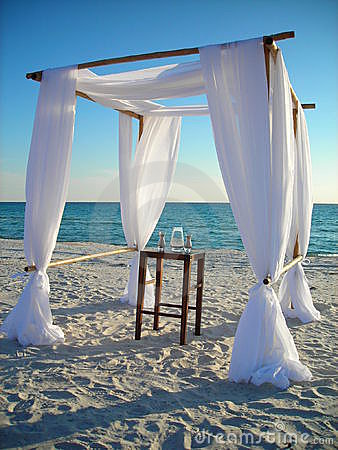 Wedding arbor on beach