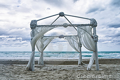 Wedding archway on a beach