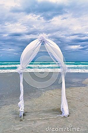Wedding archway on a beach