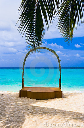 Wedding archway at tropical beach