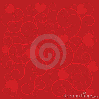 Wedding background red hearts