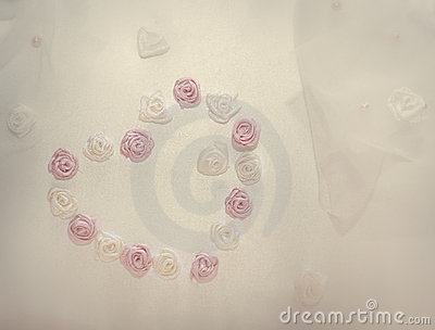 Wedding background with roses and heart sign
