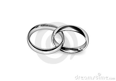 set of interlocking platinum wedding rings over white - Interlocking Wedding Rings