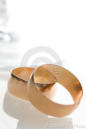 Wedding bands and glass