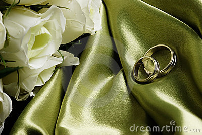 Wedding bands on green satin