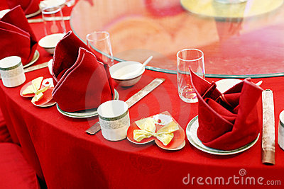 Wedding banquet table setting.
