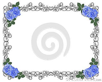 Wedding border Blue roses