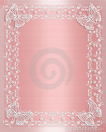 Wedding Border Pink Satin And Lace Stock Photo - Image: 4057370