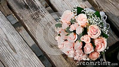 Wedding bouquet on bench