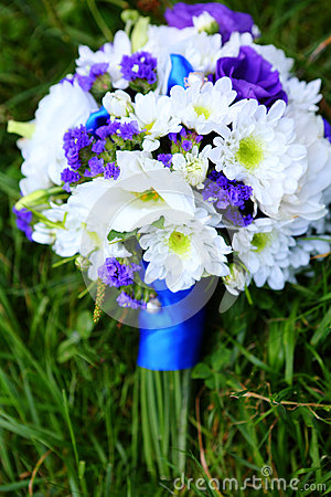 Wedding bouquet in blue and white