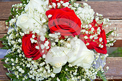 Wedding bouquet on the boards