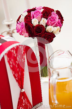 Wedding bouquet and card box